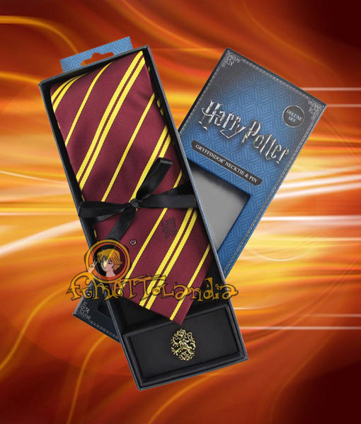 HARRY POTTER CRAVATTA GRIFONDORO TIE GRYFFINDOR & METAL PIN DELU
