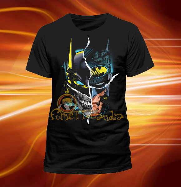 BATMAN GOTHAM FACE BLACK DESIGN T-SHIRT (M)