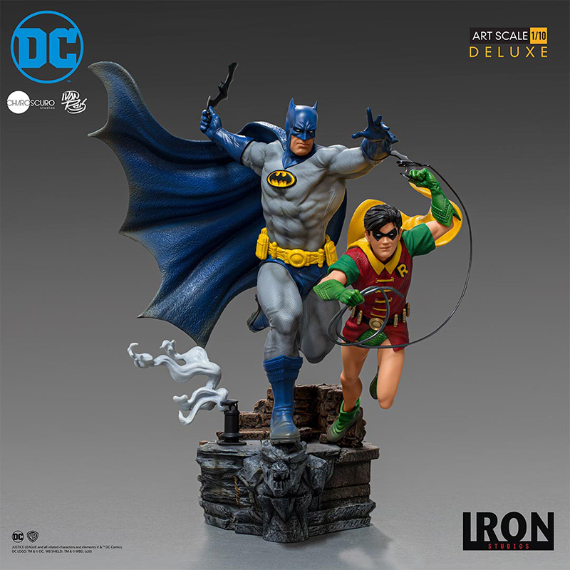 DC COMICS DELUXE ART SCALE STATUE 1/10 BATMAN & ROBIN BY IVAN RE